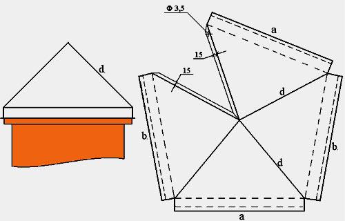 Схема металлического колпака на столб