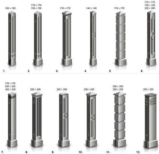 Различные формы бетоных столбов
