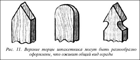 Оформление штакетника