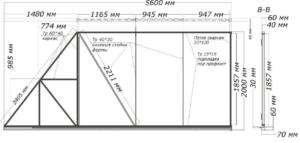 Чертеж сметаллического каркаса подвижной секции