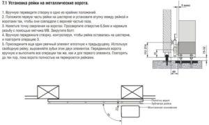 Установка рейки на металические ворота