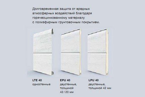 Варианты панелей и их толщины